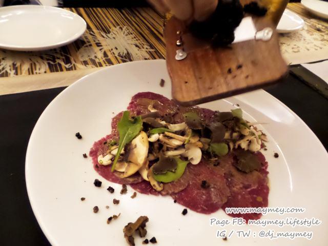 Beef Carpaccio  mushroom salad summer truffle aged parmesan