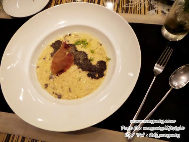 Summer truffle risotto, Burrata cheese, snow peas, crispy Parma ham