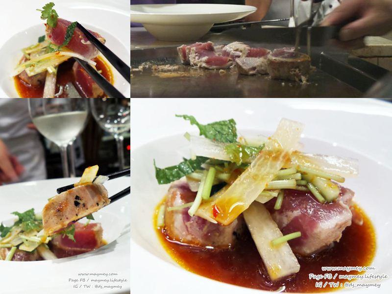 Smoked yellow fin Tuna with Spicy ponzu