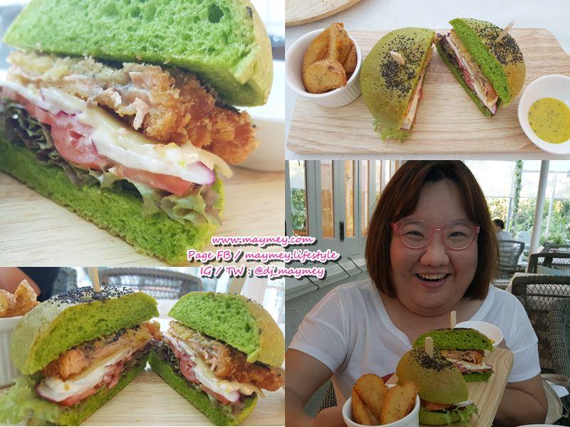 Hulk Burger เบอร์เกอร์ผักโชมแซลมอนทอด